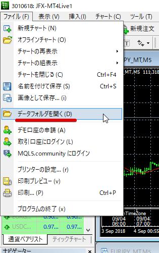 JFXオリジナルインジケーターをMT4にインストール