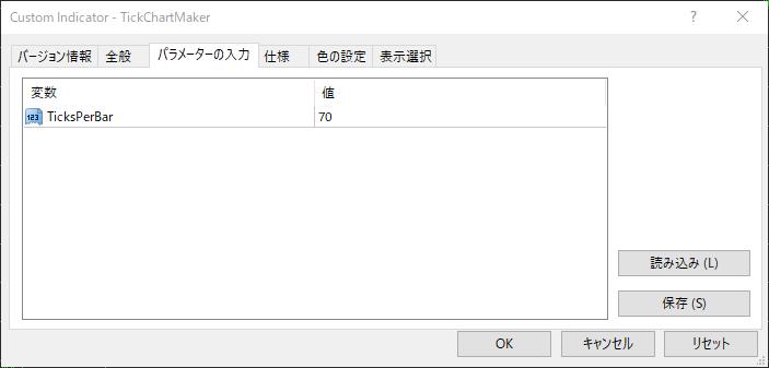 TickChartMakerのパラメーター設定値